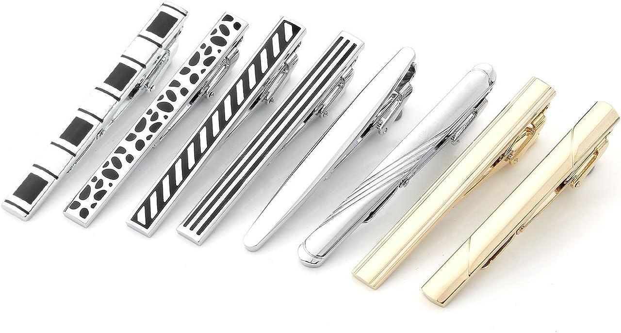 Jovivi 3-8pcs Classic Mens Stainless Steel Tie Bar Clips /& Cufflinks Mix Variety Sets
