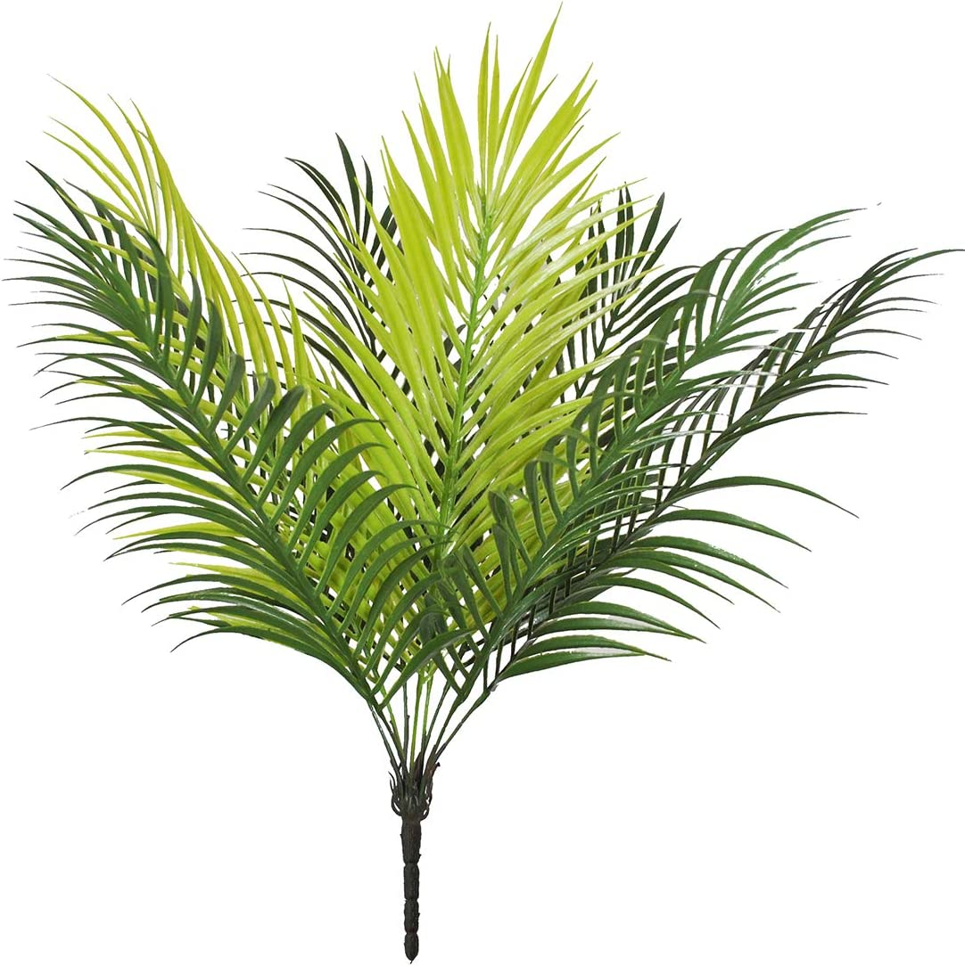 Planta artificial de hojas de palmera para pájaros, plantas de verduras falsas de palmeras tropicales, 9 hojas, palmeras para decoración del hogar, fiestas, bodas