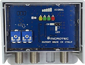 Amplificador de mástil para antenas digitales, con indicador de intensidad de señal recibida. Dos entradas: VHF, UHF, ganancia 32 – 36 dB, para zonas ...