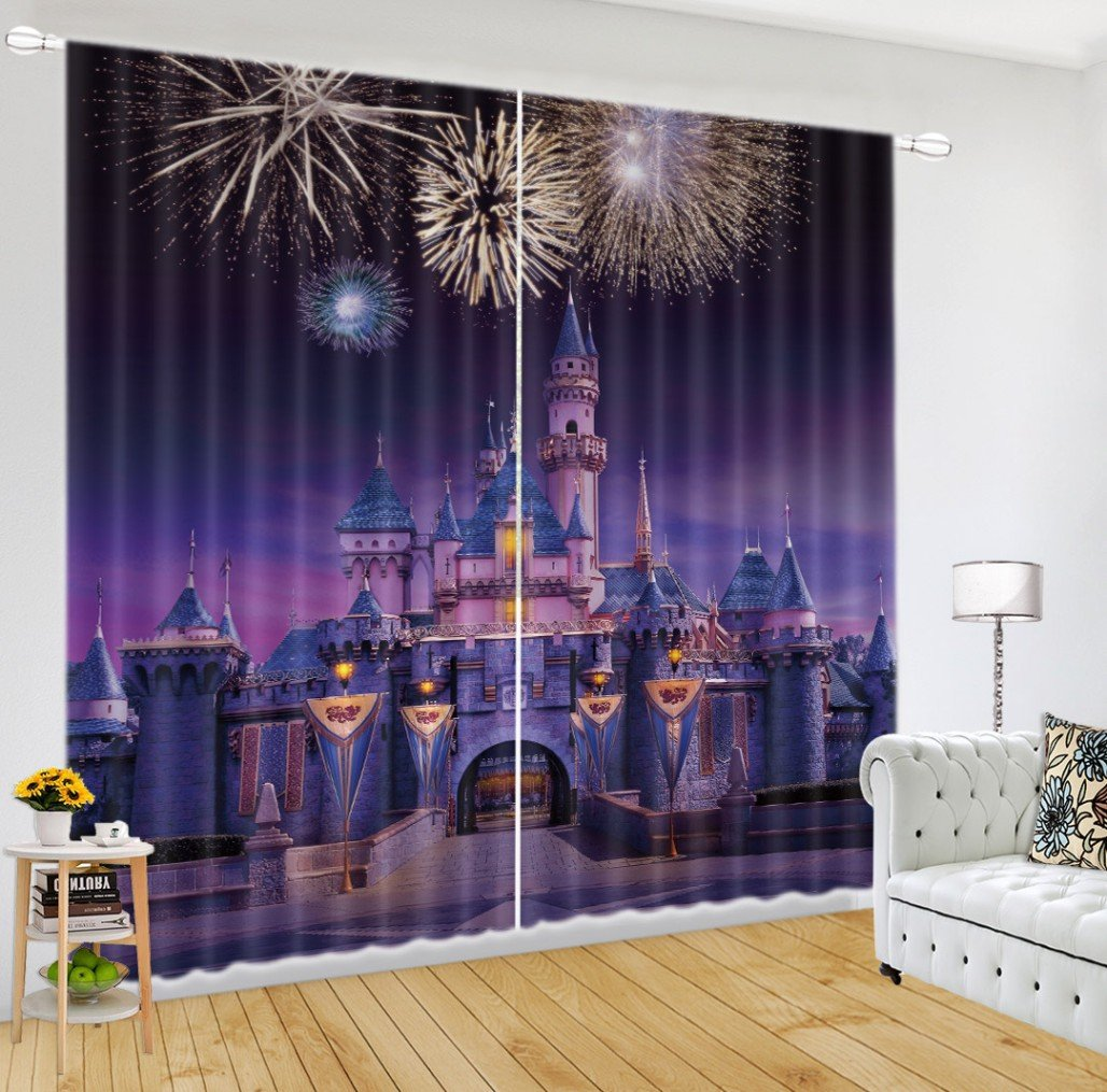 LB Teen Kids City Decor Collection,2 Panels Room Darkening Blackout Curtains,Fairy Tale Castle 3D Effect Print Window Treatment Curtains Living Room Bedroom Window Drapes,104W x 84L Inches