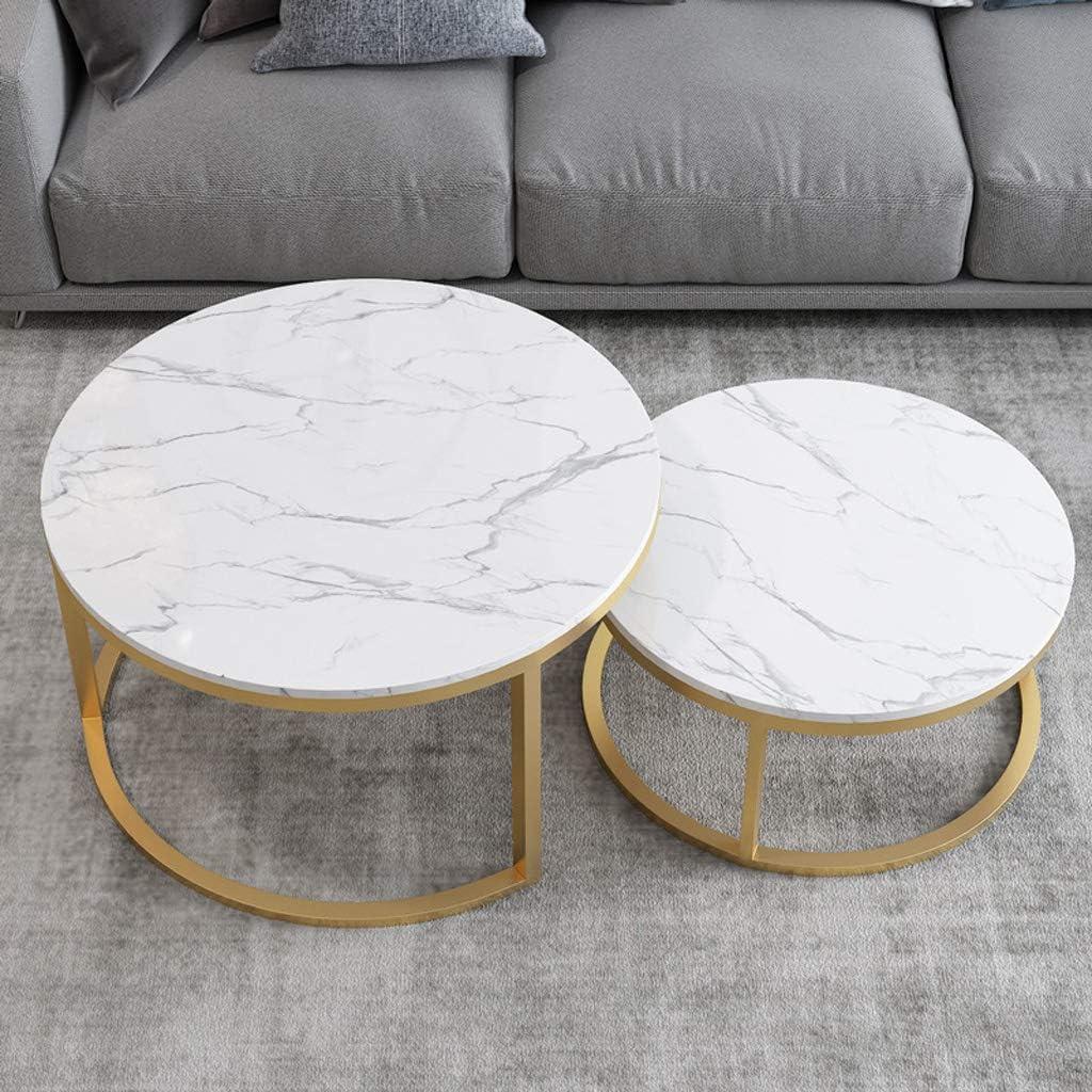 Table de Cocktail Ronde en marbre MDF avec Cadre en Acier Or Salon Table de th/é de Loisirs avec canap/é lat/éral Meubles de d/écoration int/érieure Ensemble Moderne de 2 Tables Basses gigognes