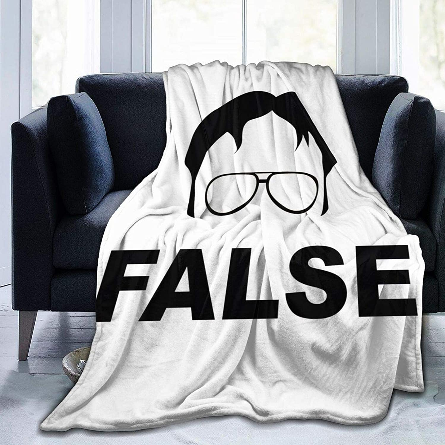 ATSH The Office Dwight Schrute False Large Flannel Throw Blanket Soft Warm Lightweight and Decorative Three Sizes to Choose from
