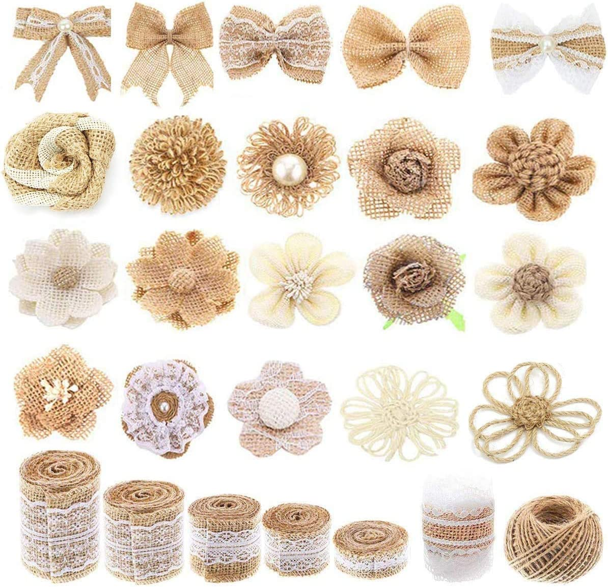 FiveRen 27 PCS Jute Burlap Flowers Set, Ribbon Roll Rustic Flower Bowknot and Twine for Party Wedding Thanksgiving Christmas Craft Wreath Decor