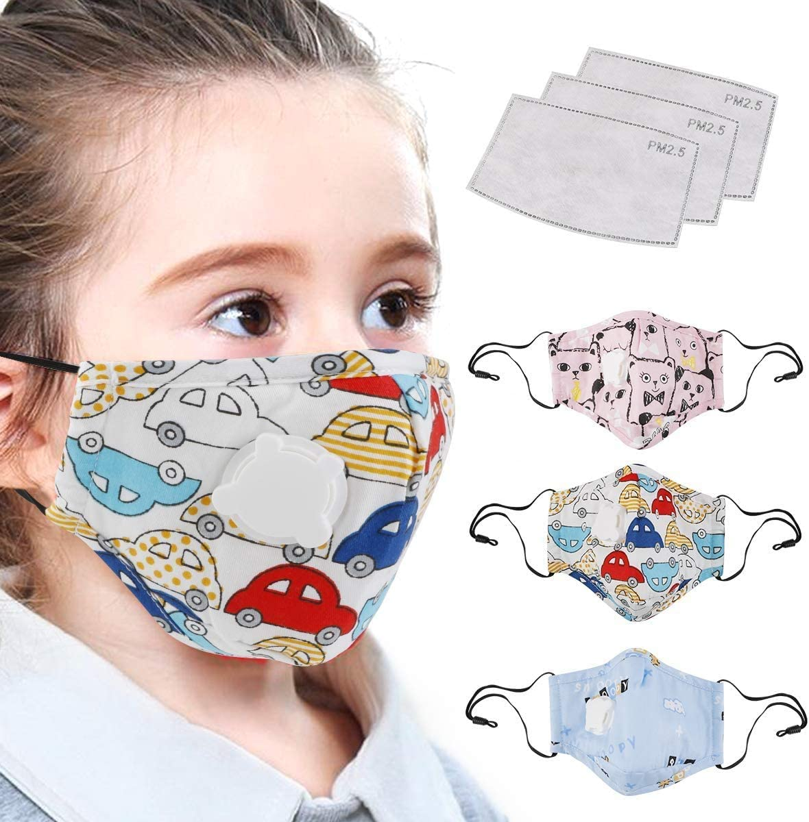 Washable Face Cotton Protection with Cute Pattern for Kids Outdoor School Cycling 【in Stock USA】 5PC Children Reusable Face Cover with Adjustable Earloop