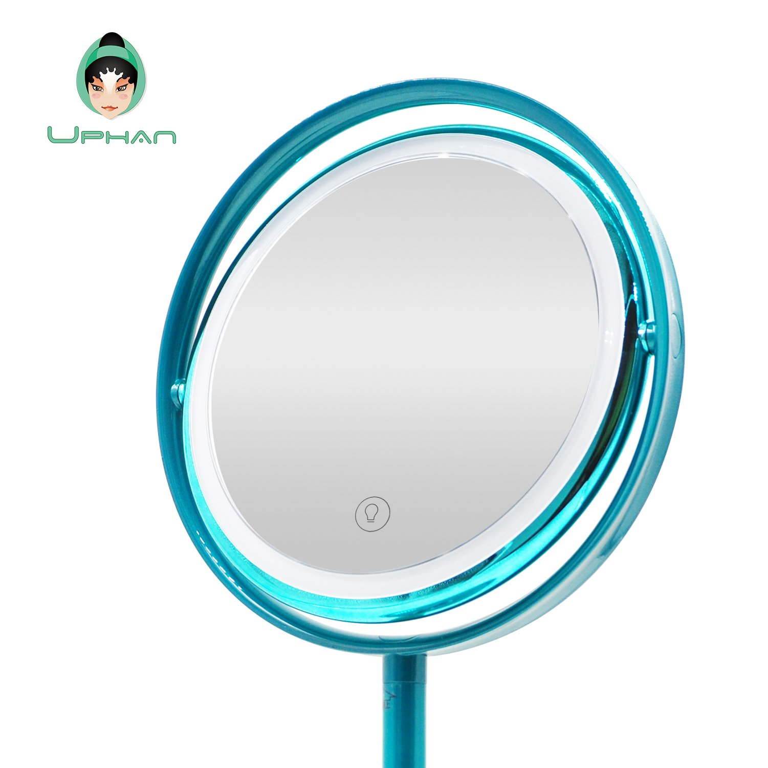 UPHAN U7 Surgical Grade Lighted Makeup Mirrors, 7 inch Luxury Dual Light Color Dimming Light with 5X Detail Mirror, Malachite green ¡­ (Surgical Grade) by UPHAN (Image #2)