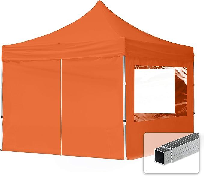 TOOLPORT Gazebo Pieghevole Giardino 3x3m 2 Laterali Alluminio Telo PES300 100/% Impermeabile Padiglione Mercati Sagre Arancione