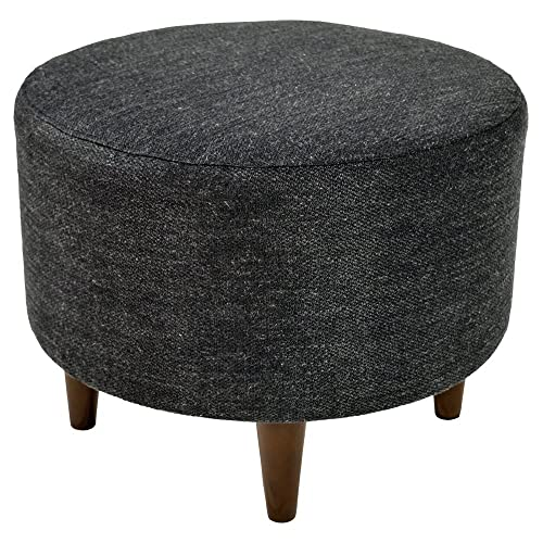 MJL Furniture Designs Sophia Collection Belfast Series Contemporary Round Ottoman, Dark Charcoal Wooden Legs