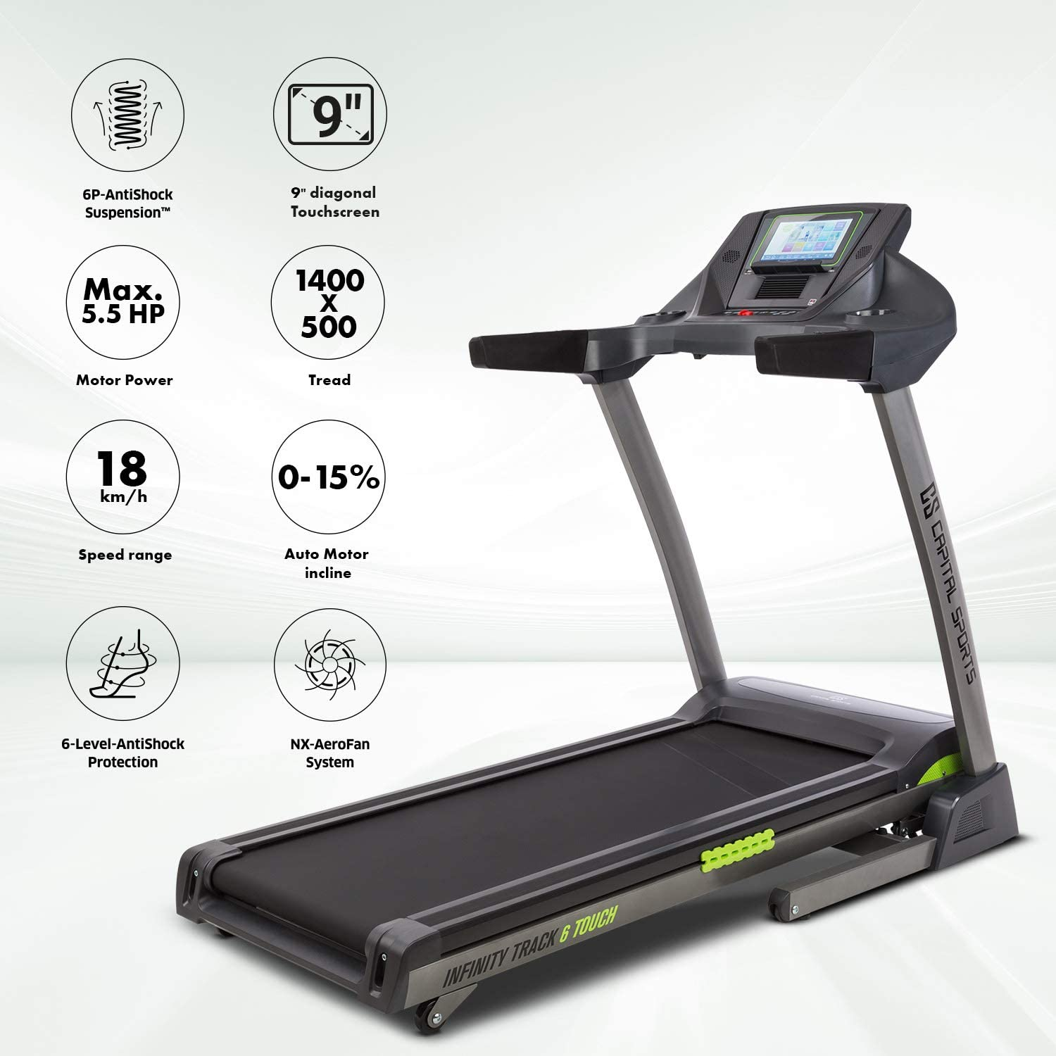 CapitalSports Infinity Track 6.0 Touch - Cinta para Correr, 6P ...