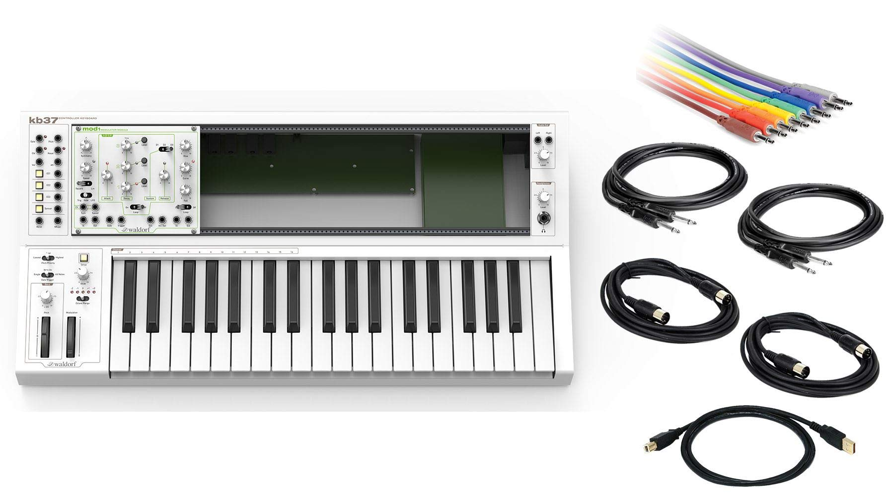 Waldorf KB37 Eurorack Keyboard Bundle with CV Patch Cables, 1/4'' Instrument, MIDI & USB Cables (7 Items)