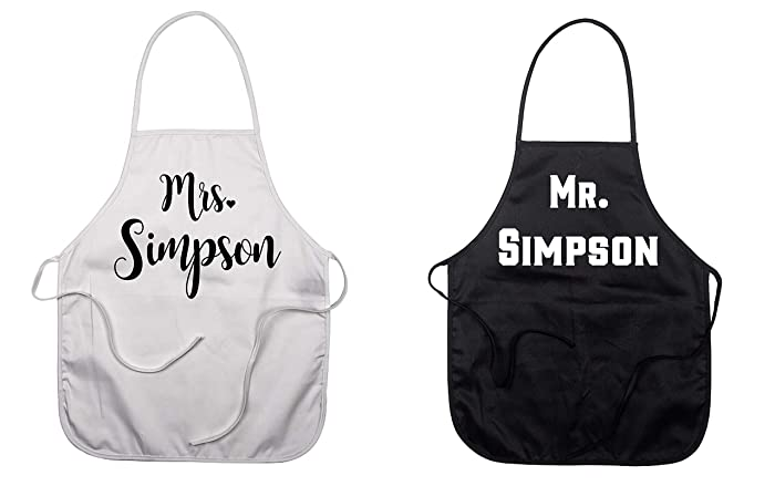 Amazon Com Set Of 2 Mr And Mrs Custom Aprons Personalized Kitchen