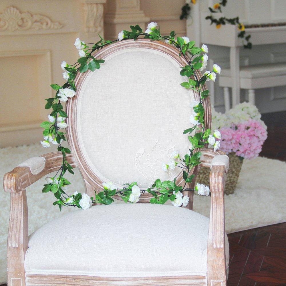 Guirnalda de flores artificiales de Li Hua Cat, 60 rosas, flores de decoración para bodas, casas, fiestas y jardines, 2 unidades: Amazon.es: Hogar