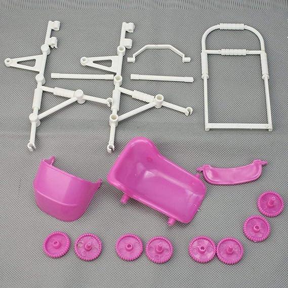 Ndier Dollhouse Cochecito de bebé Modelo plástico Mini Carro Carro para Barbie muñeca Accesorios de Muebles - Rosa: Amazon.es: Juguetes y juegos