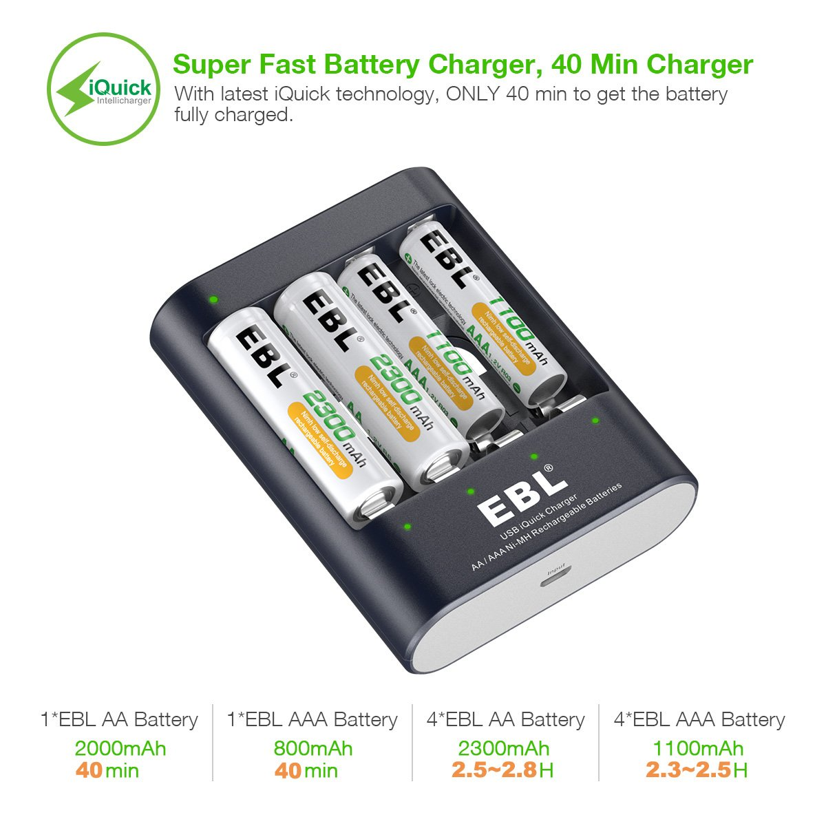 EBL 40Mins Super Fast Battery Charger with 4 X 2300mAh Ni-MH Rechargeable AA Batteries