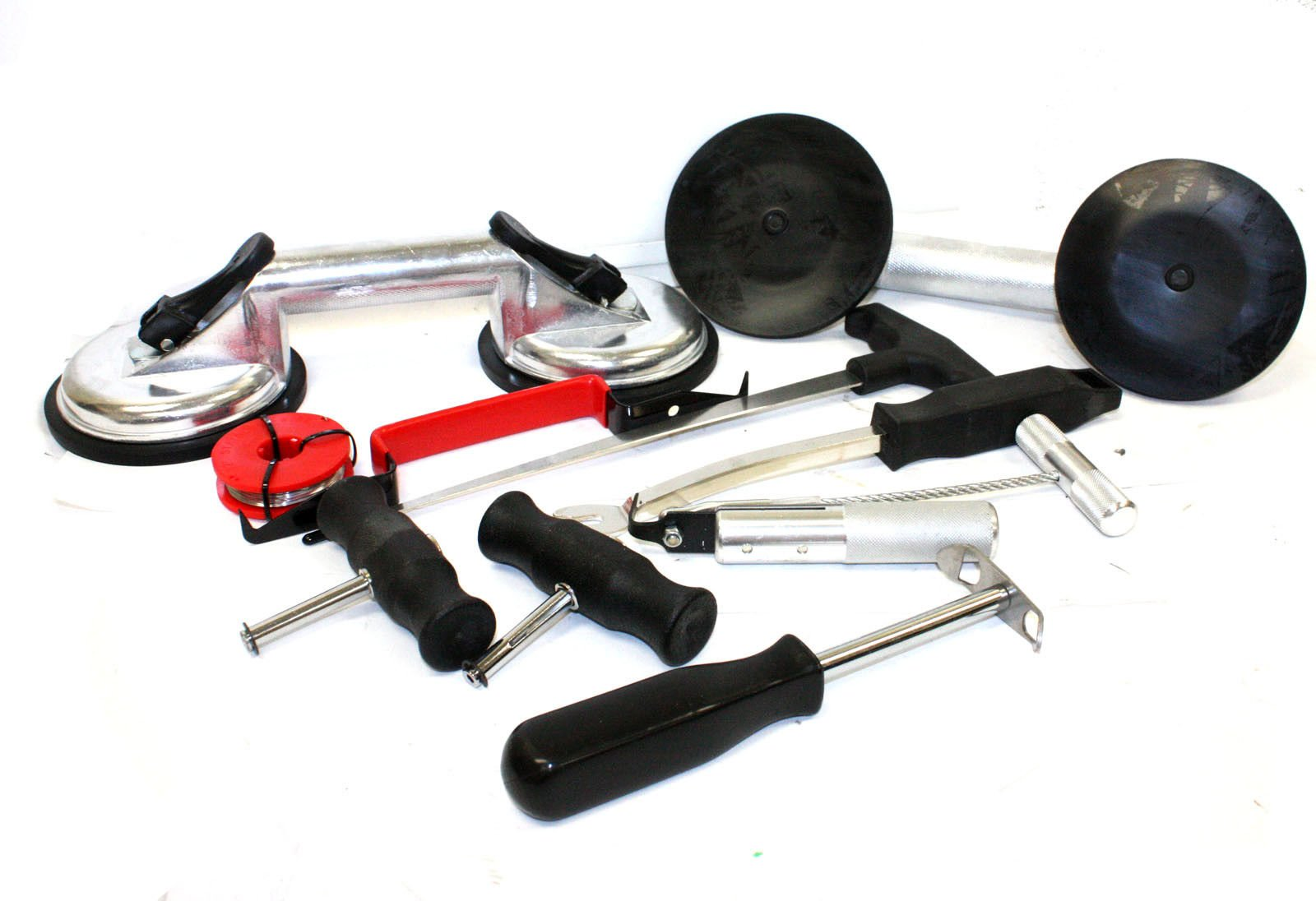 9TRADING 10pc Windshield Removal Install Tool Kit Wind Glass Remover with Hand Suction Cups
