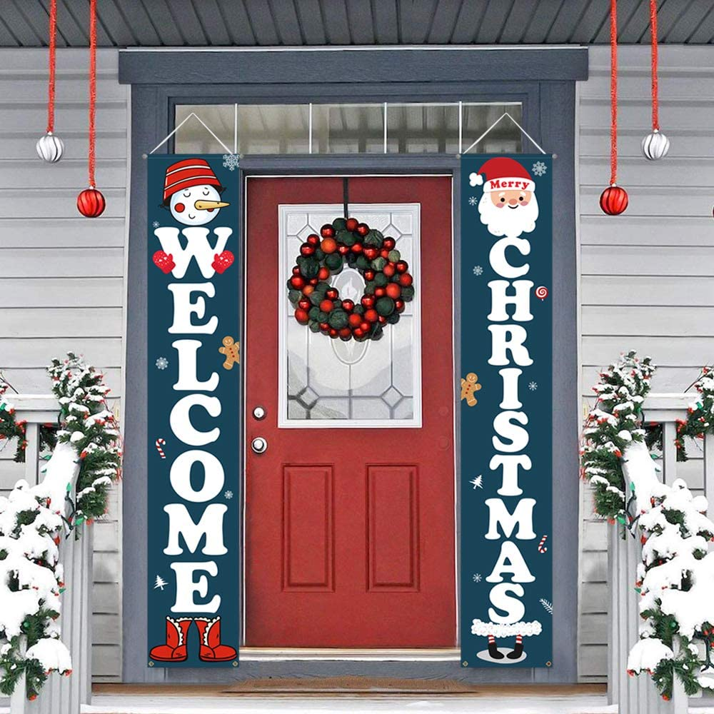 Dazonge Christmas Decorations   Welcome & Christmas Sign for Front Door/Porch Decor   New Year Christmas Winter Party Supplies