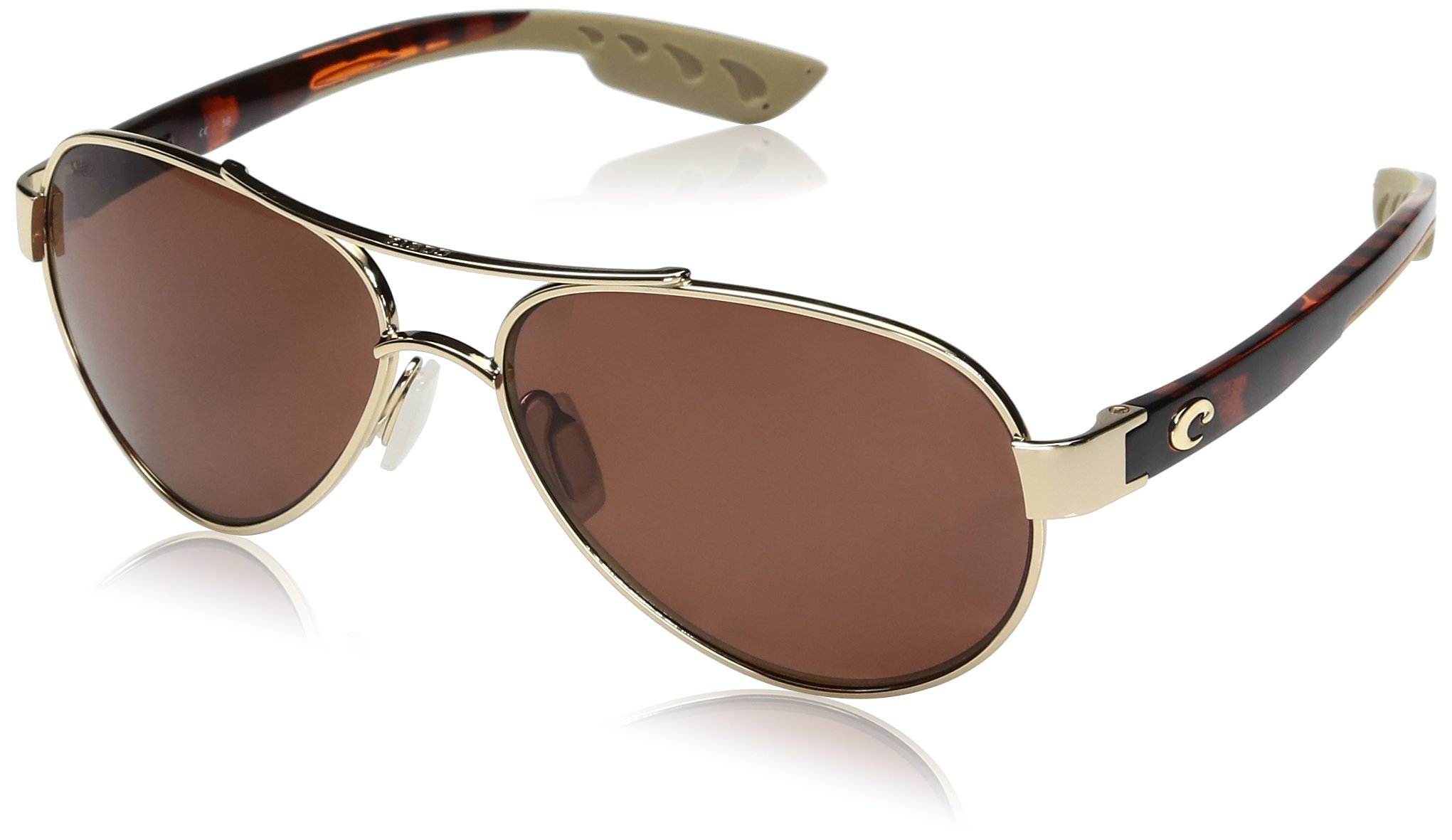 Costa del Mar Women's South Point Polarized Aviator Sunglasses, Rose Gold w/Light Tortoise Templescopper 580P, 59 mm