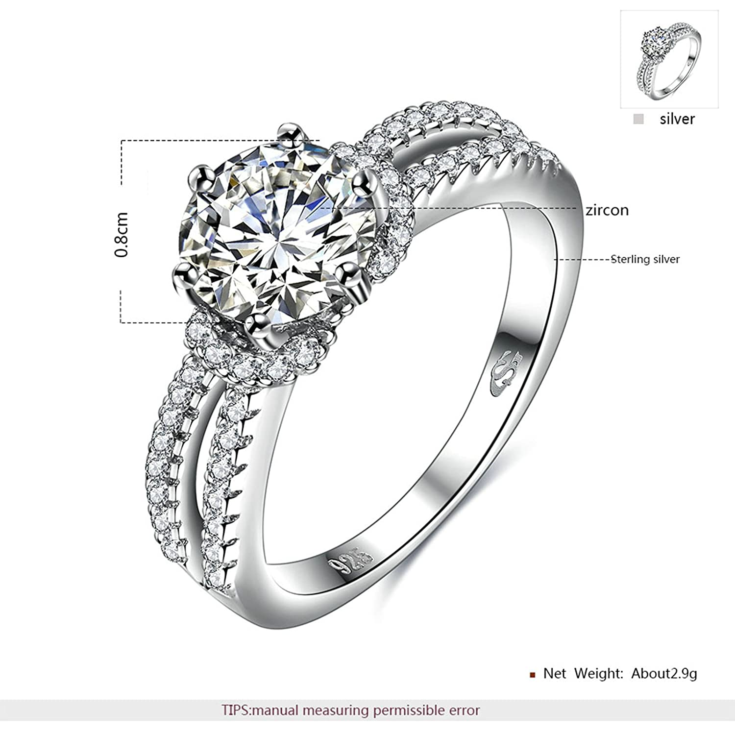 KnSam Ring for Women Fashion Sterling Silver Ring for Women Double Row Hollow Silver Size 6