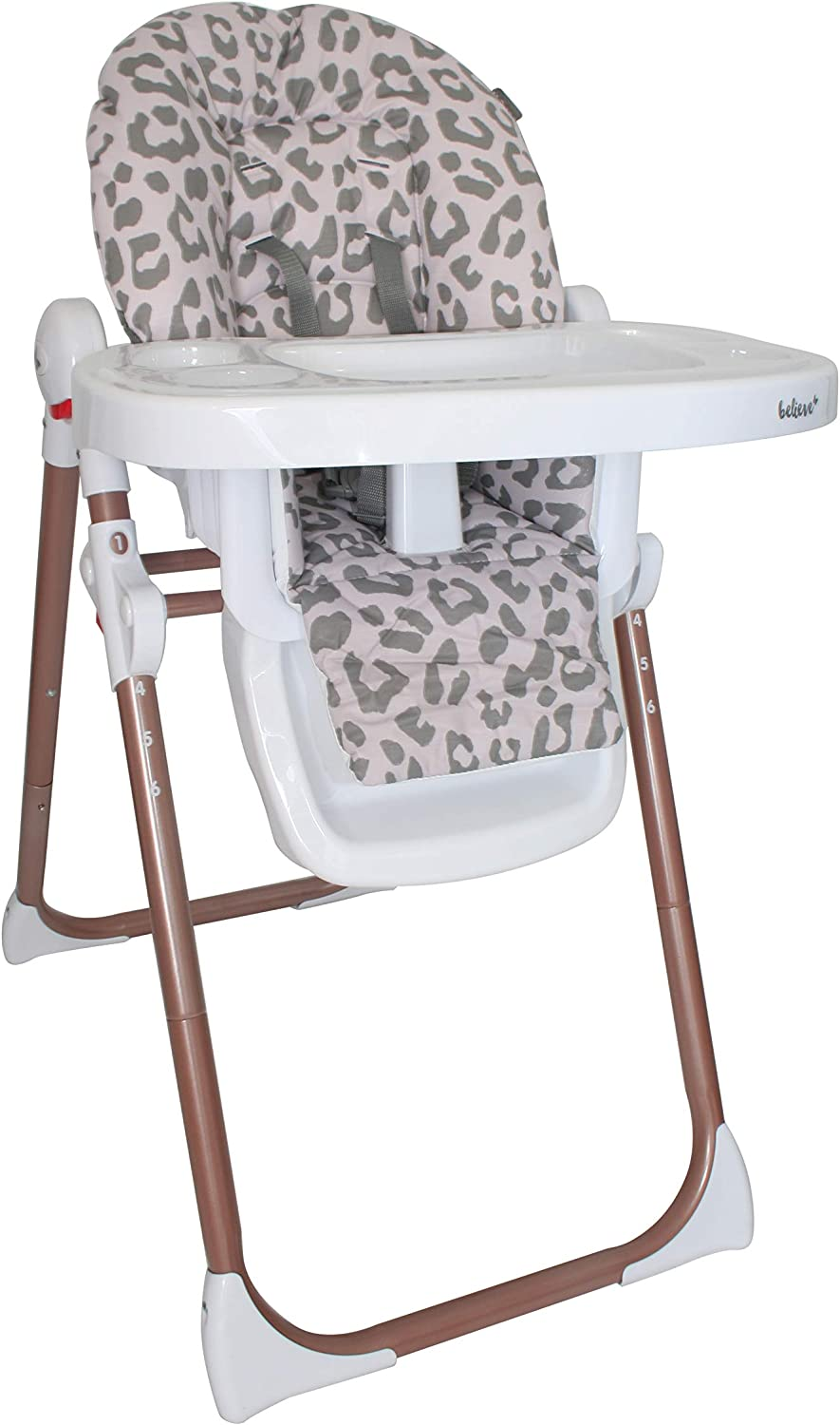 Removable Easy Clean Tray Suitable from 6 Months Up to 15 Kg 6 Different Height Settings My Babiie MBHC8 Katie Piper Believe Rose Gold Blush Leopard Premium Highchair 3 Recline Positions
