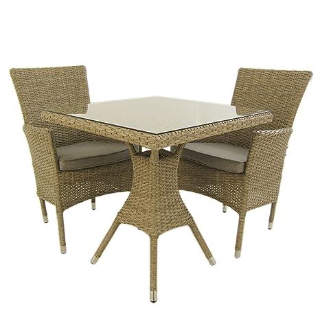 Conjunto Muebles jardín, Mesa Cuadrada 70 cm y 2 sillones apilables, Aluminio y rattán sintético Plano Color Natural, 2 plazas, Cristal Templado 5 mm