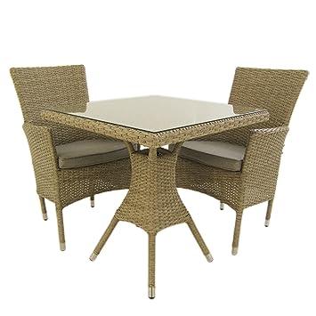 Conjunto Muebles jardín | Mesa Cuadrada 70 cm y 2 sillones apilables | Aluminio y rattán sintético Plano Color Natural | 2 plazas | Cristal Templado 5 ...