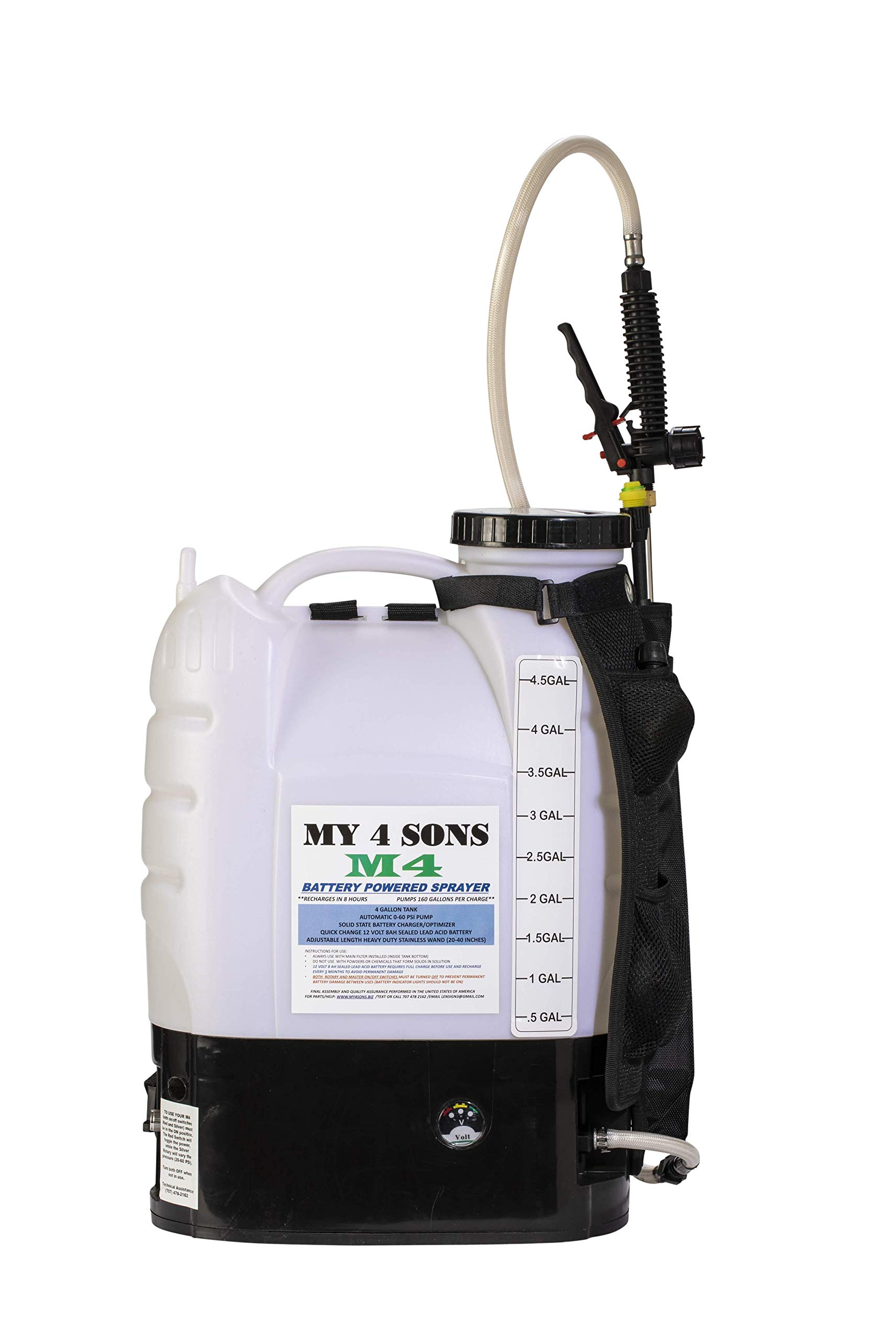 M4 MY4SONS 4-Gallon Battery Powered Backpack Sprayer Wide Mouth with Steel Wand and Brass Nozzle, Battery Included by M4