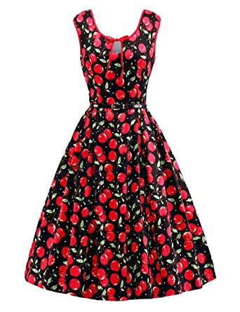 HUINI Vintage Swing Kleid 50er 60er Retro Rockabilly Cocktailkleid  Geblümtes Sommerkleid Ärmellos Gürtel Partykleid Rundhals Große Größen   Amazon.de  ... ec0584c9d9