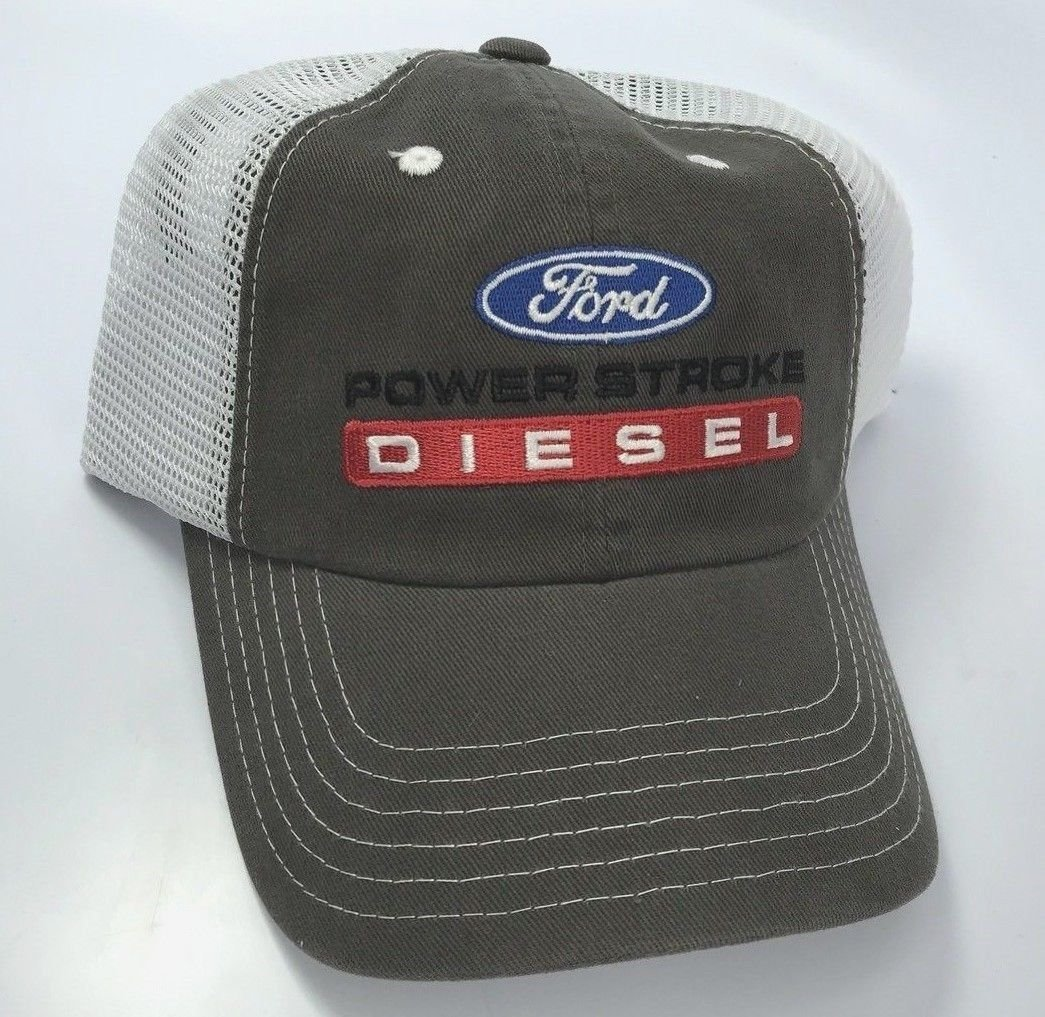 Hat White Ford Oval Dark Gray with White Mesh Back