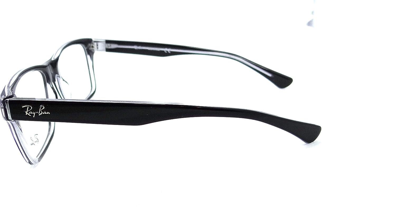 4b4045e5534 Ray-ban Rx Eyeglasses Frames Rb 5308 2034 53x18 Black on Transparent   Amazon.ca  Clothing   Accessories
