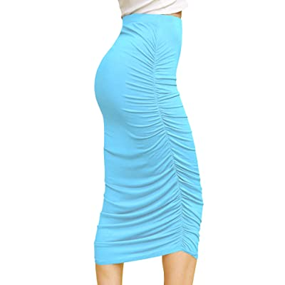Made By Johnny Women's High Waist Bodycon Slim Fit Ruched Frill Ruffle Midi Long Pencil Skirt - Made in USA at Women's Clothing store