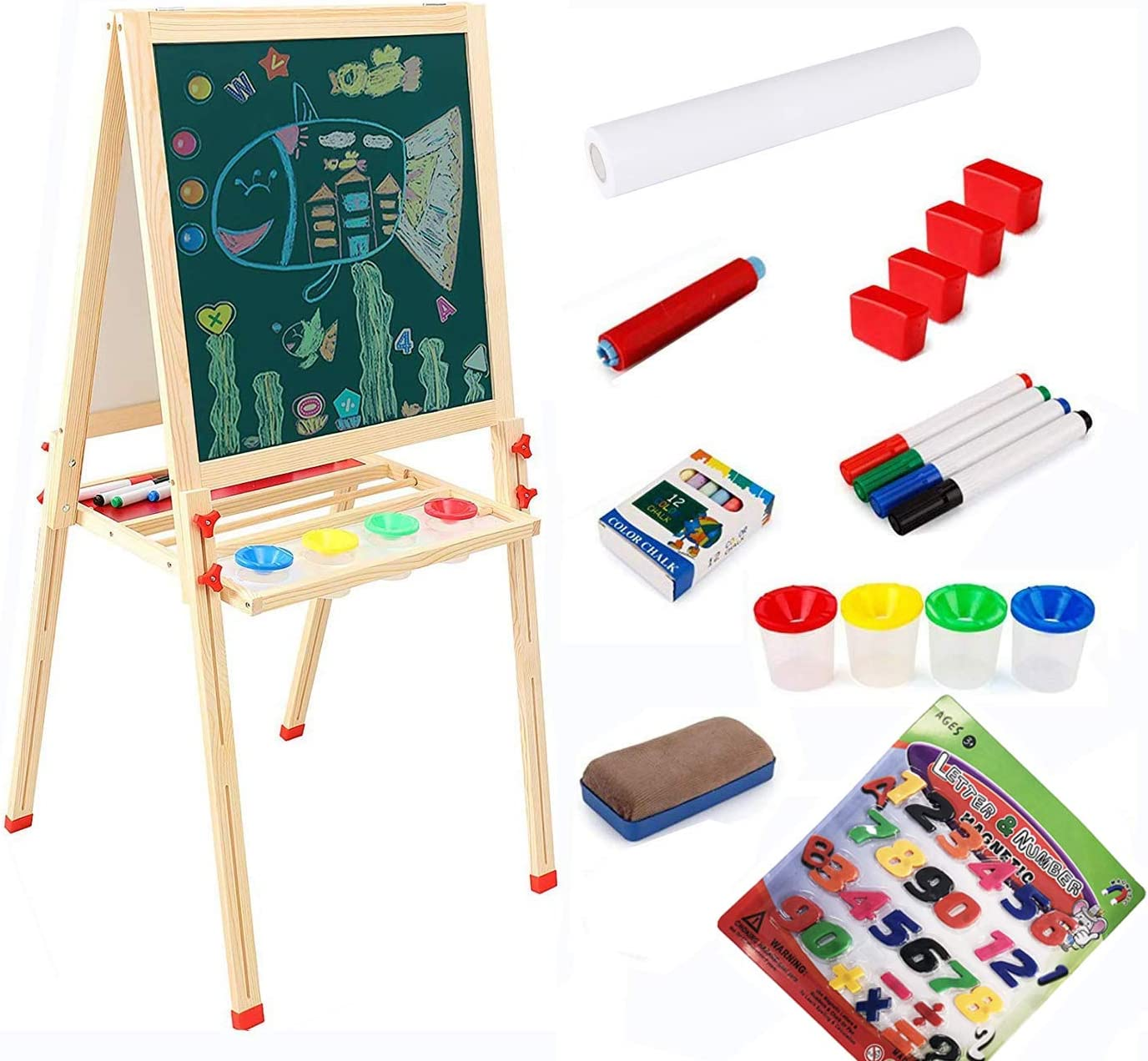 LINAZI Kids Wooden Art Easel,Chalk Board & Dry Erase Board,Double Sided Magnetic Easel with Paper roll,Gift for Kids,Height Adjustable Easel for Kids(L=54