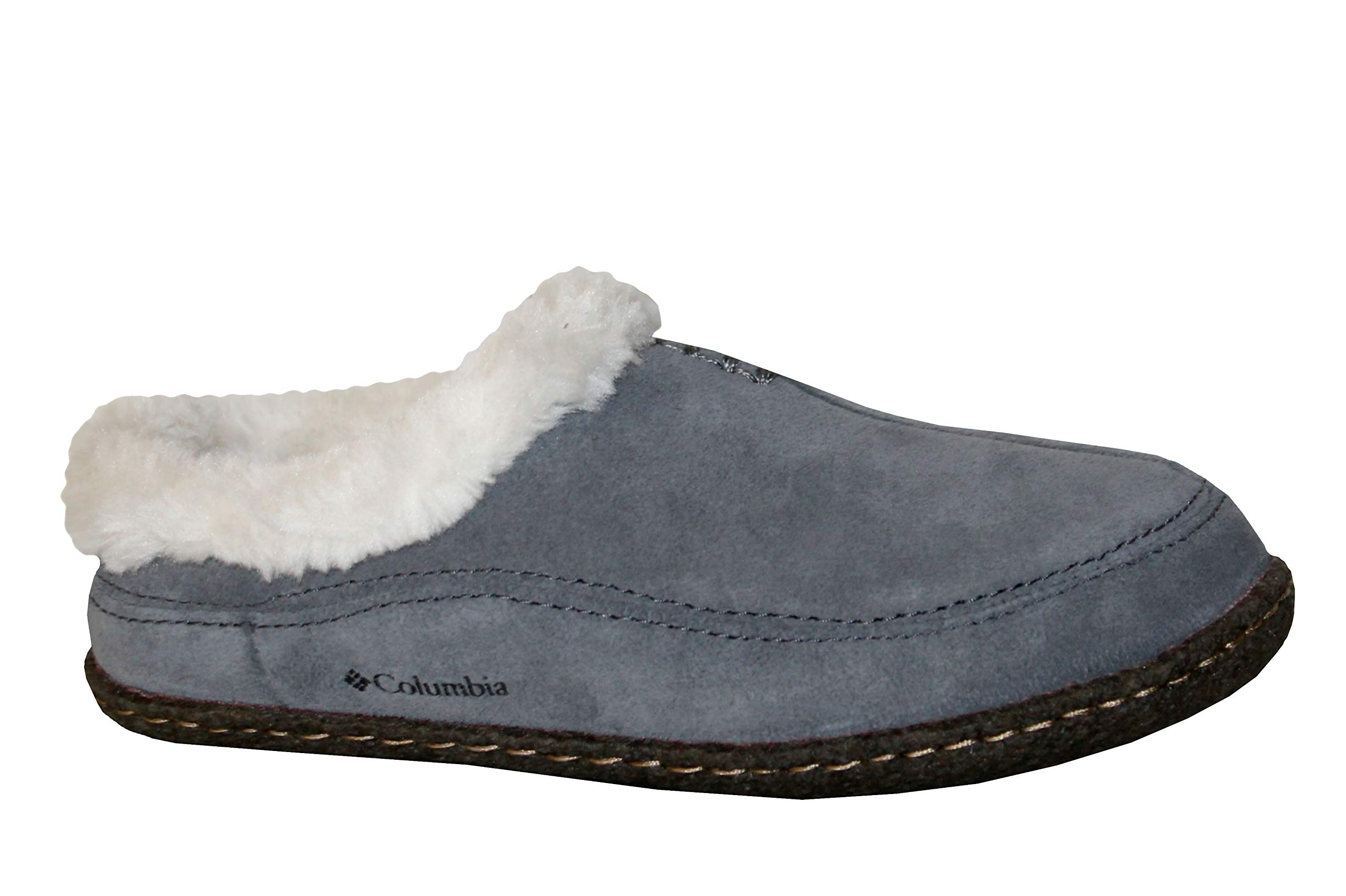 Columbia Dunmore Hill Youth Kids Faux-Fur Slippers Shoes (5 Youth) Grey