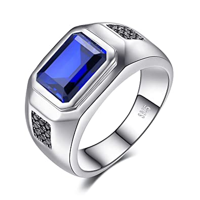6e74990b050c JewelryPalace Men 4.3ct Created Blue Sapphire Natural Black Spinel  Anniversary Wedding Ring Genuine 925 Sterling