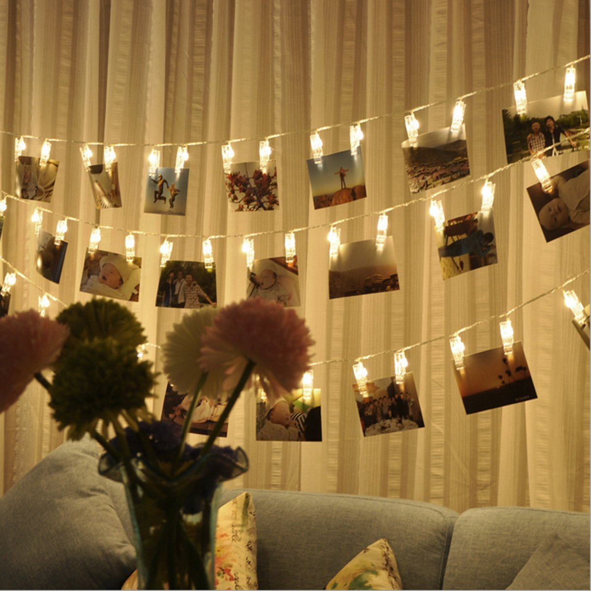 Amazon.com: MZD8391 [Upgraded] 50 Photo Clips String Lights/Holder ...