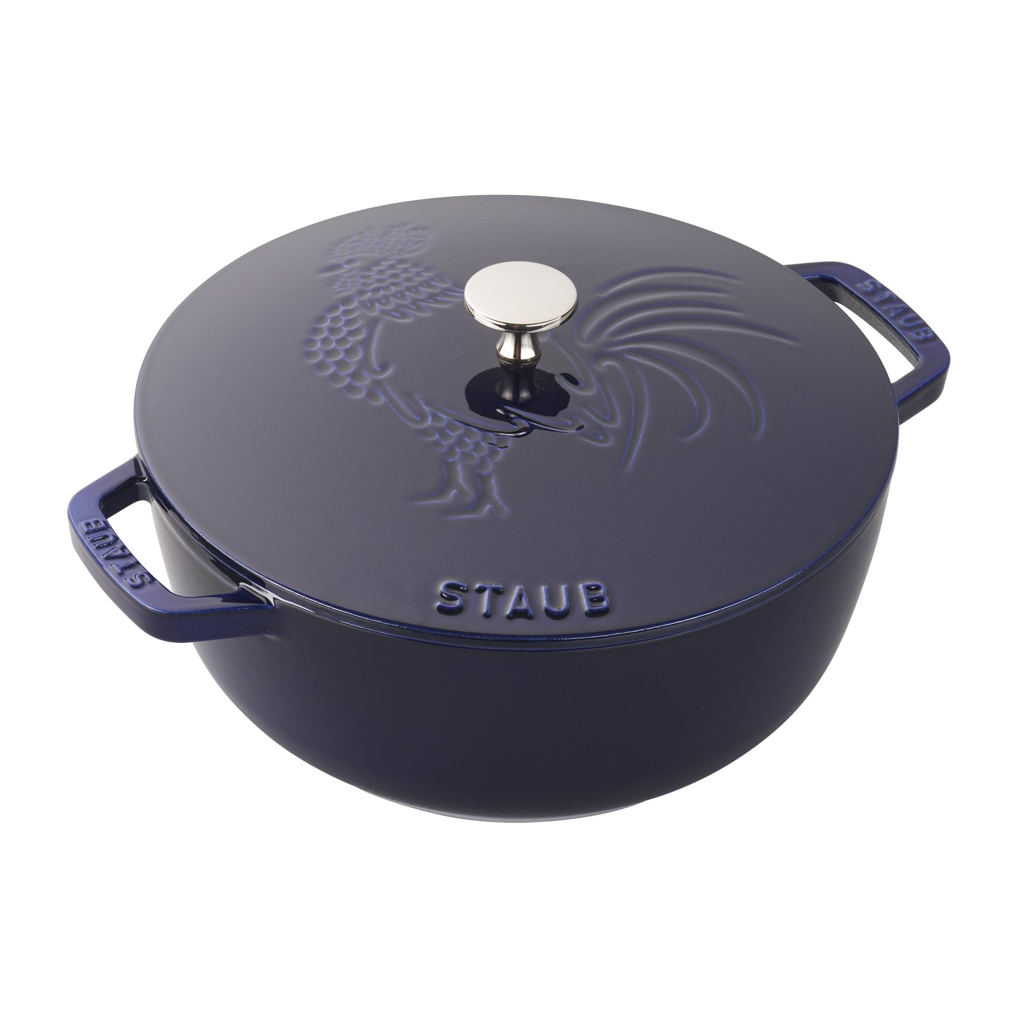 Staub Cast Iron 3.75-qt Essential French Oven Rooster - Dark Blue