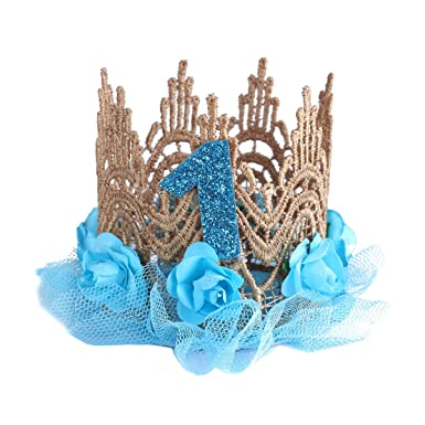 IEFiEL Infant Baby Girls Kids Sparkly 1st Birthday Lace Flower Crown DIY Rose Princess Party Hat