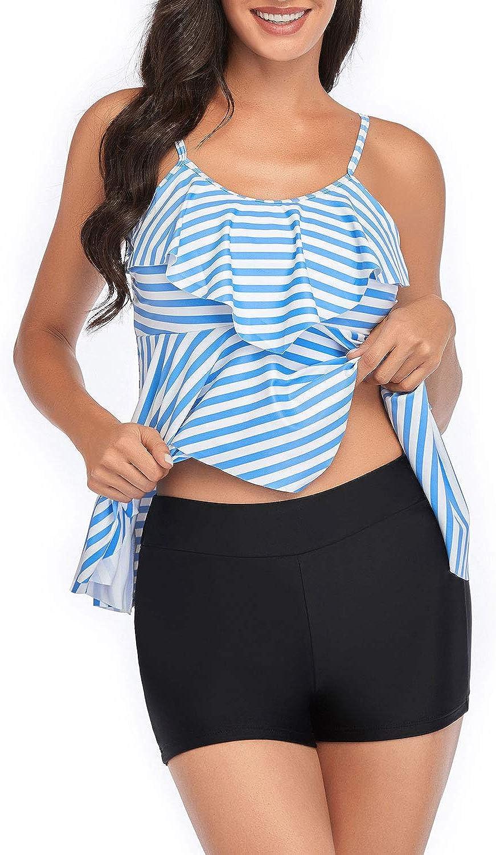 Holipick Women Tankini Swimsuits 2 Piece Flounce Printed Top with Boyshorts Bathing Suits
