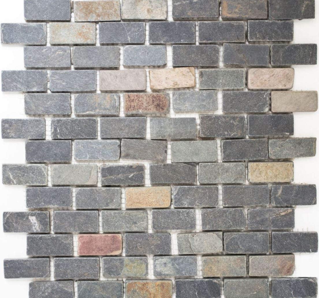 Azulejos de mosaico, pizarra, piedra natural, color negro oxidado Brick Jack Multicolor para pared, baño, inodoro, cocina, espejo para azulejos, revestimiento de mosaico, placa de mosaico