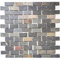 Azulejos de mosaico, pizarra, piedra natural, color negro