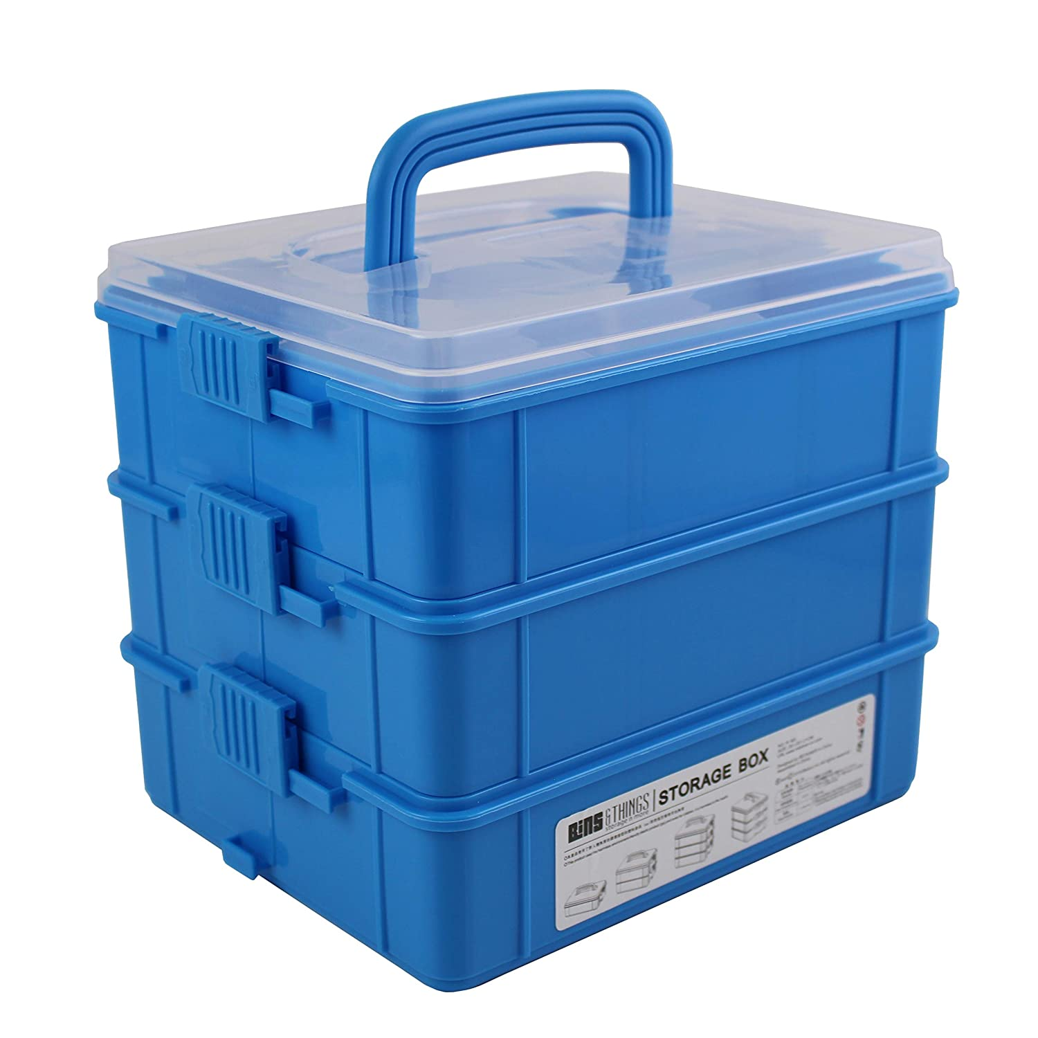 | 3-Tier Stackable Storage Bins for Arts and Crafts Bins /& Things Stackable Storage Containers with 30 Adjustable Compartments Sewing Accessories Jewelry Making 13W x 9D 9.5H Inch Beads Organizer