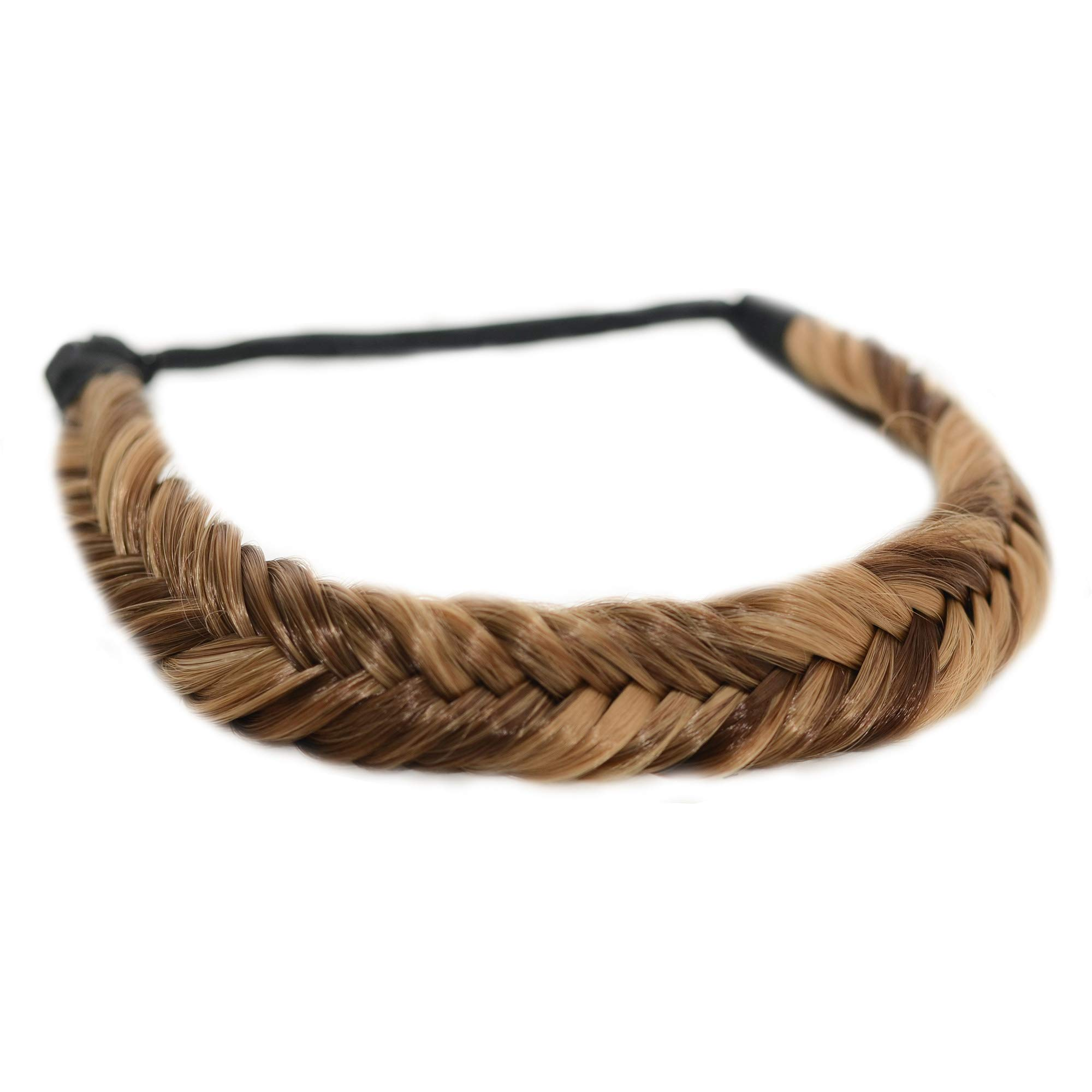 Madison Braids Women's Headband Hair Braid Natural Looking Synthetic Hair Piece Extension - Arisa Fishtail - Highlighted by MADISON BRAIDS
