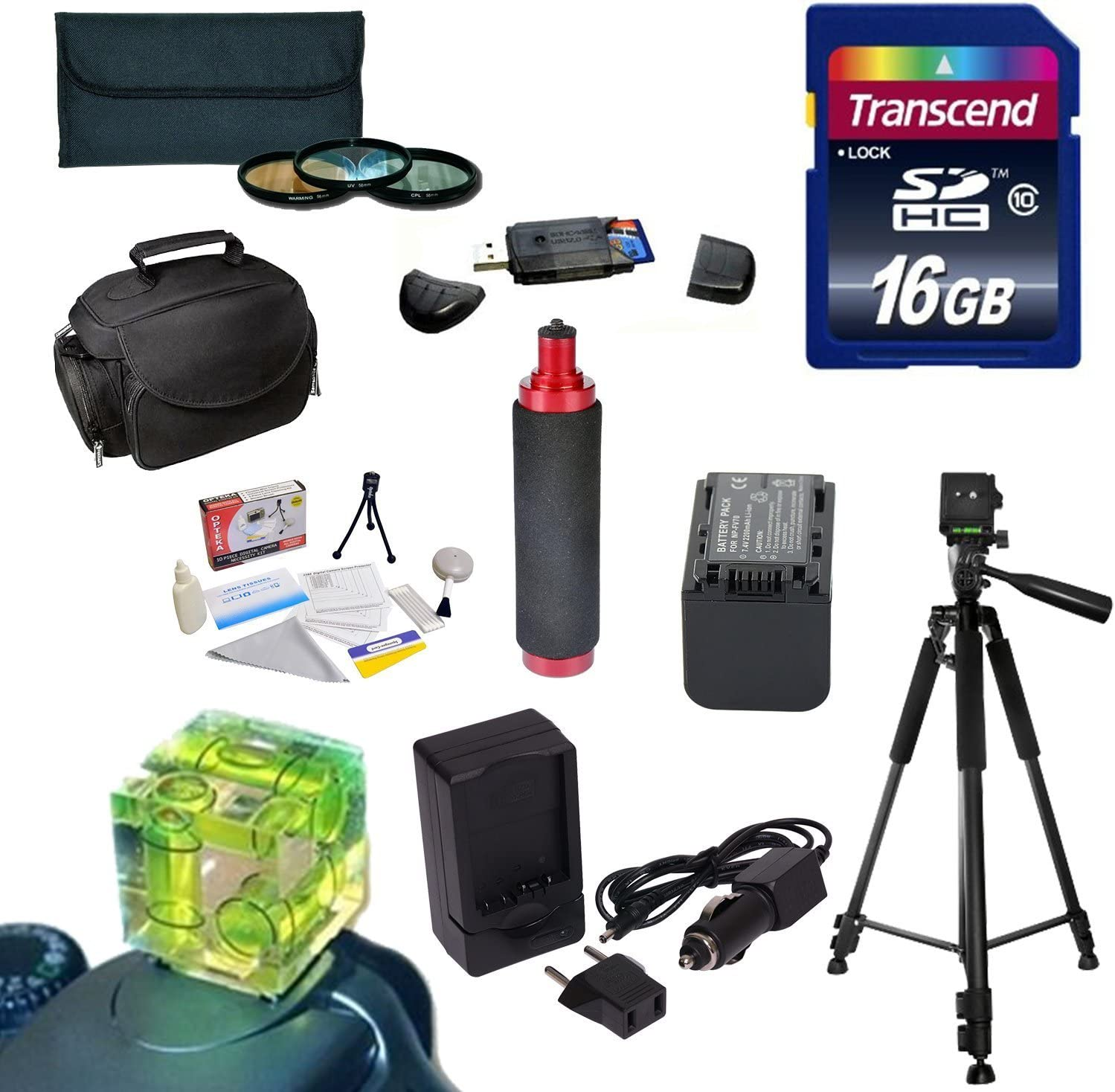 58MM 3 Piece Pro Filter Kit + Sony FV70 Extended Life Replacement Battery 16GB High Speed Error Free SDHC Memory Card SDHC Card Reader UV, CPL, FLD Rapid AC//DC Battery Charger Best Value Accessory Kit for the Sony NEX-VG30 Camcorder Includes 60