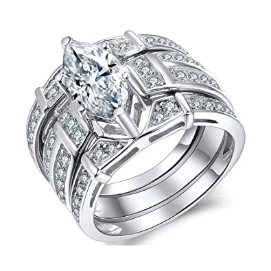 79b0f12745cd5 Wisslotus 3 Pieces Rhodium Plated Marquise Cut Halo Cubic Zirconia CZ  Diamond Infinity Wedding Bridal Rings Sets