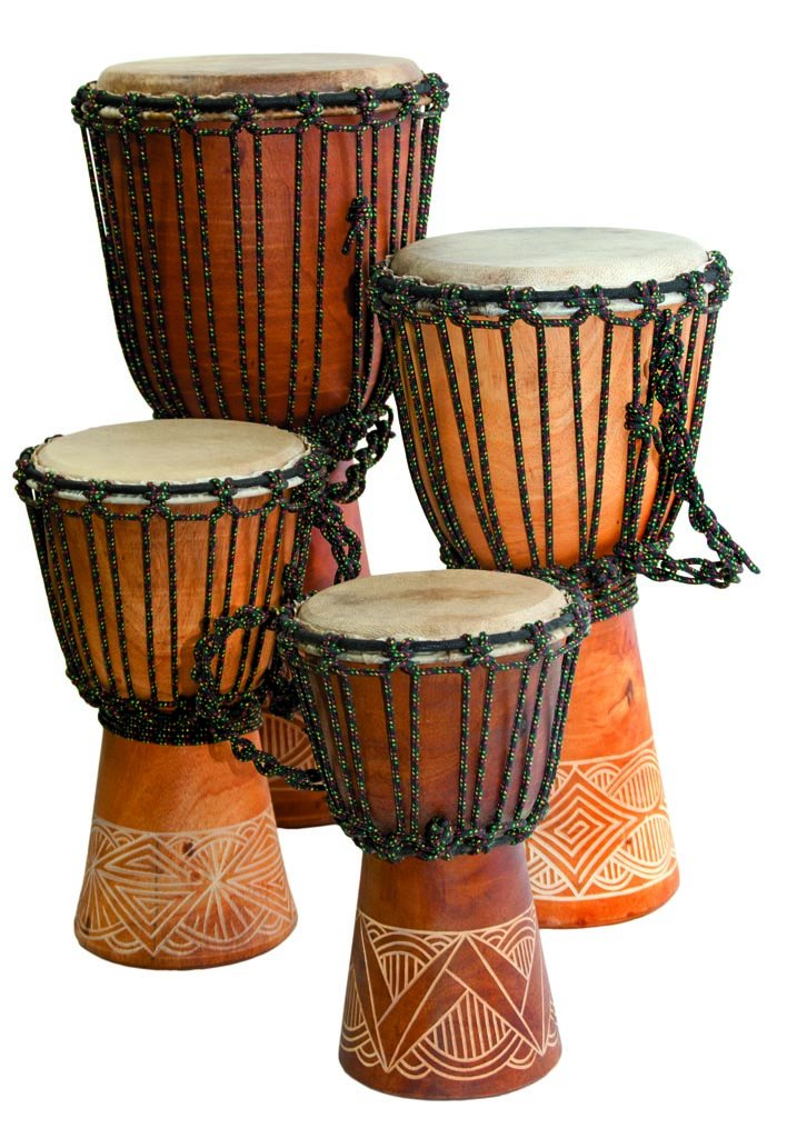 Djembe Beginner carved,10'' tall, 5-6'' head by Terre