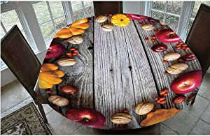 """Stain Resistant Elastic Edged Table cover,Natural Vegetables Walnut Wood Rustic Print Home or Cafe Kitchenware Art Apples Tablecloth,Fits Oval/Olbong Tables 48x68"""",for Kitchen Dinning Tabletop Decorat"""
