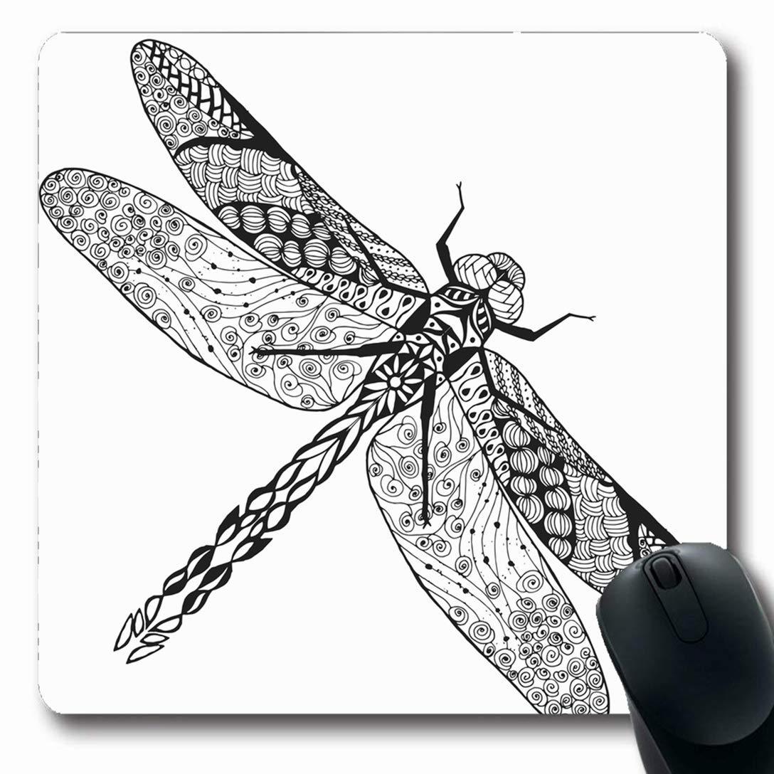 Luancrop Alfombrillas para computadoras Tatuaje Zentangle Libélula ...