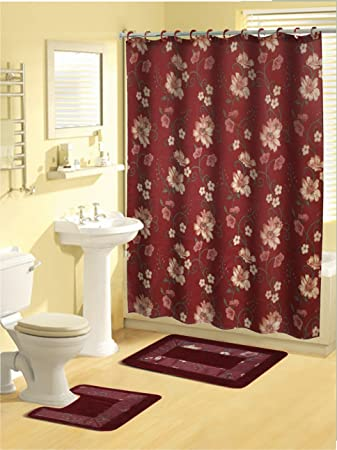 Home Dynamix 18 Piece Floral Burgundy Shower Curtain Set