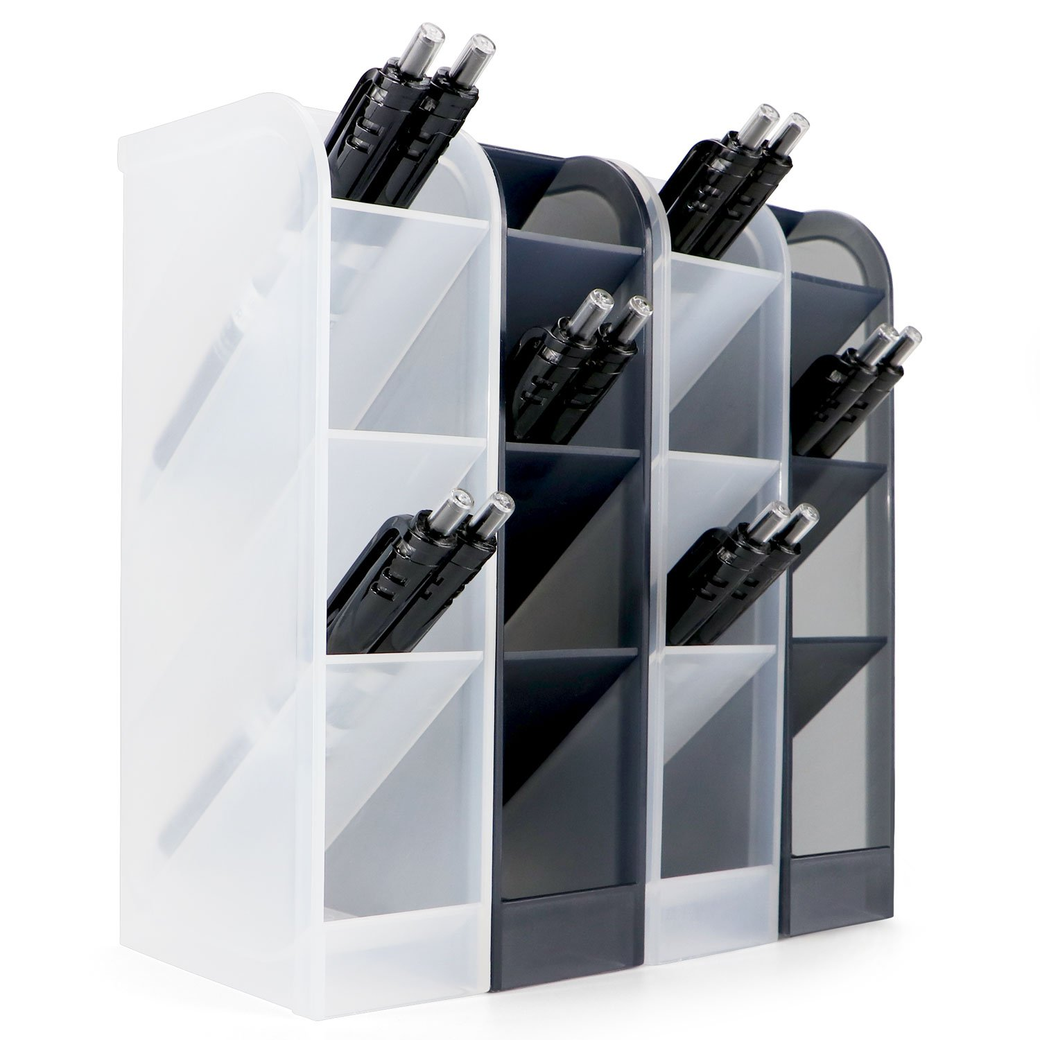 4 Pcs Desk Organizer- Pen Organizer Storage for Office, School, Home Supplies, Translucent Black & White Pen Storage Holder, Set of 4, 16 Compartments (4 Pcs)