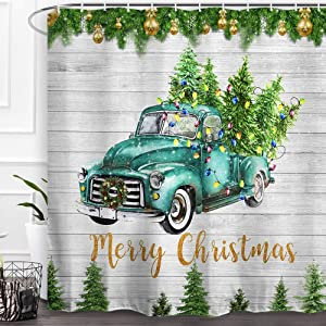 Baccessor Merry Christmas Shower Curtain Truck Winter Holiday New Year Xmas Vintage Rustic Decor Waterproof Fabric Bath Curtain with Hooks Bathroom Home Decoration 72 x 72 Inch,Truck Christmas Tree