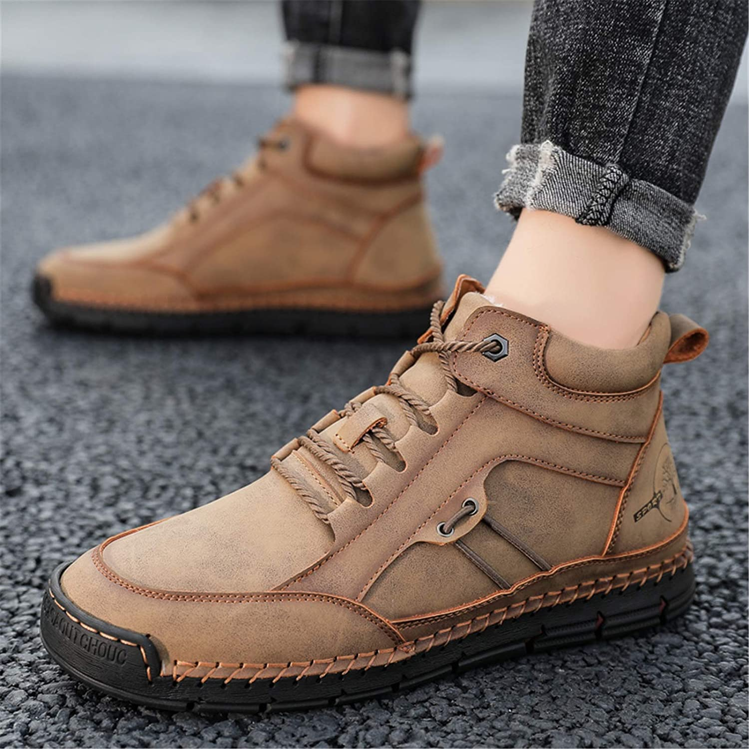 Govicta Mens Winter Boots Warm Faux Fur Lined Snow Boots Warterproof Chukka Boots Casual Walking Shoes for Outdoor
