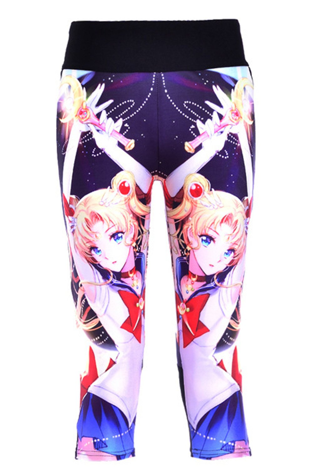 Lady Queen Women's Sailor Moon Knee Length Tight Sports Capri Pants